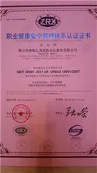 OHSAS18001职业健康案例管理体系证书